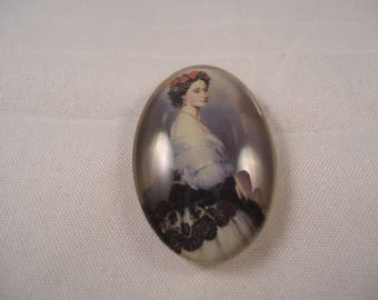Vintage cabochon glass, old woman series