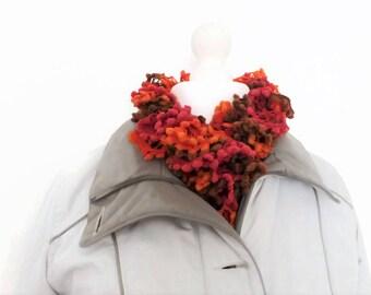 Boa knitting scarf, ruffle scarf, pink hand knit scarf, knitting gifts, long skinny scarf, orange scarf, pom pom scarf, fashion scarves