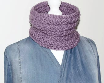 Knit cowl scarf, loop scarf, wool neck warmer, knitted cowl, purple circle scarf, cowl neck scarf, cowl infinity scarf, hand knit scarf