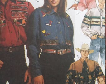 UNCUT and FF Pattern Pieces Vintage McCalls 6716 Sewing Pattern Sizes 42-44 Western Shirts