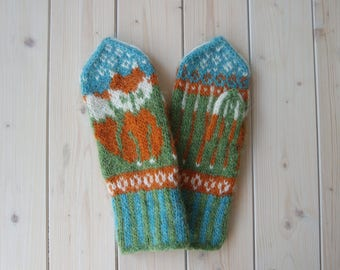 Wool Mittens With Fox | Icelandic Wool Mittens | Wool Women's Mittens | Funny Fox Mittens | Trendy mittens | Knit Winter Gloves