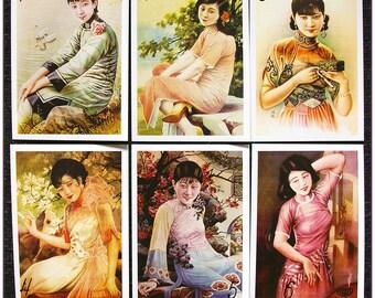 "Postcard style retro vintage Asian women pinup ""model 2"" x 1"