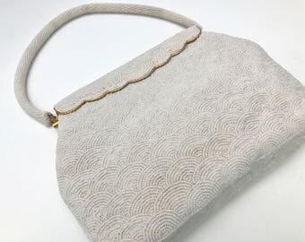 Ivory White Vintage Pearl Beaded Evening Bag, Stephen Chu,Bridal Purse, Bridal Evening Bag