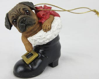 Vintage Pug Puppy Christmas Tree Ornament / Santa's Boot / Gift for Dog or Pug Lover, Owner / Danbury Mint Pugs and Kisses