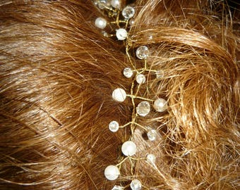 25 inch pearl and crystals on gold wire