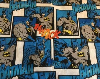 Licensed DC Comics Batman Print Fabric, Batman Comic Panels Cotton Fabric by the Yard or Half Yard