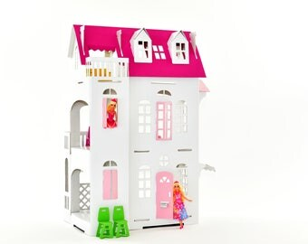 Pink! Cardboard luxury - Paper Imagination Doll House -  suitable for Barbie mini