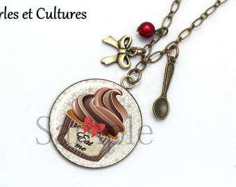 Necklace cabochon Eat me cupcake beads chocolate brown red bow