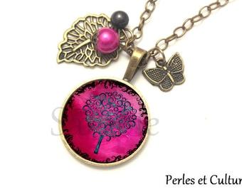 Necklace cabochon pink noirღ magiqueღ tree leaf Pearl ღ