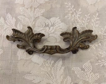 Vintage gray washed brass drawer handle pull ornate salvage restoration furniture french provincial country home decor