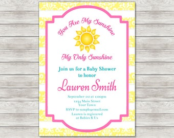 Sunshine Baby Shower Invitation, Sun Baby Girl Invite - Printable File or Printed Invitations
