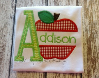 Back to School Apple Appliqued Shirt - Embroidered, Personalized, Monogrammed Apple, Teachers, Split Apple, Alpa Apple,School Apple,