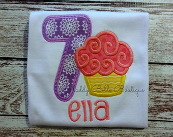 7th Birthday Appliqued Cupcake shirt - Embroidered, Personalized, Monogram, 7th Birthday, Seventh Birthday, Girls Birthday Shirt