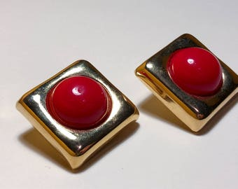 Vintage Chunky Red 80's clip on earrings
