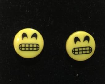 Yellow Grimace Emoji Earrings Silvertone Stainless Steel Pierced