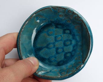 ceramic jewelry plate, blue ring dish,  round tiny plate indian pattern, gift idea for her, handmade, hand crafted, ooak,