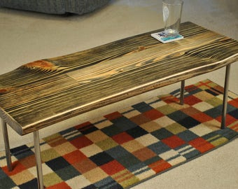 Metal leg coffee table, Ebony and grey stain