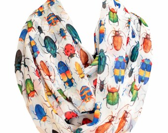 Bugs Sketch Infinity Scarf Bee Caterpillar Dragonfly Ladybug Snail Spider Insects Gift For Her Wife Fashion Accessories outdoors gift