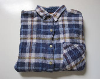 Vintage 90's Cotton Flannel Size Small Lightweight Plaid Long Sleeve Shirt
