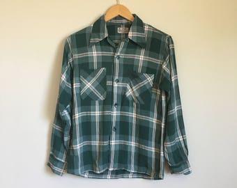 1940's Plaid Gaberdine Button Down Oxford Shirt