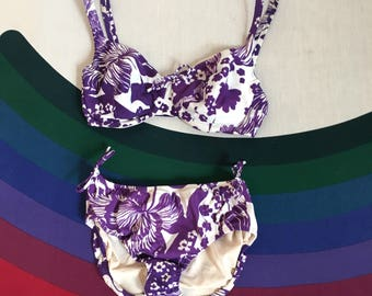 1960's Purple and White Tropical Floral Print Bikini