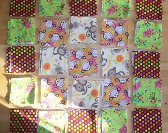 "Monkey Fabric Squares 9"" - Monkey Patchwork Quilt Squares- Monkey Baby Blanket Fabric - Monkey Baby Quilt Fabric"