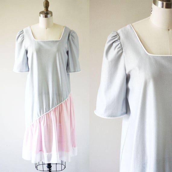 1980s colour block dress // 1980s drop waist dress // vintage dress