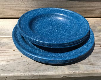 Blue Speckled Enamel Plates and Soup Bowls / Camping Gear / Farmhouse Rustic Outdoor Picnic Ware Set of 8