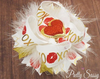 Valentine's Hair Bow, Valentine's day baby hair bow, Big V-day bow, Over the top hair clip, OTT bow, Large Hair bow, Toddler, Baby headband