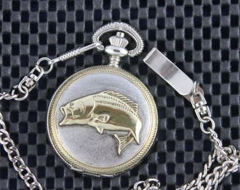 Fish Pocket Watch • Perfect Gift & Free Shipping!  Silver Case with Gold Fish • Working and Ready for You
