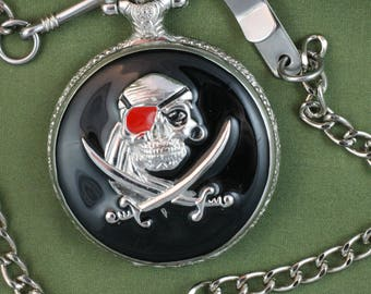 Pirate Pocket Watch • by Cedar Creek • Silver Case with Black Enamel • Free Shipping! • Working and Ready for Use