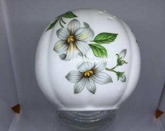 Vintage Ceramic Pomander, White with Grey Floral Design