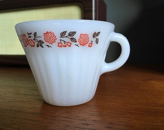 Vintage Milk Glass Termocrisa Cup with Floral Design