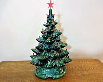"""Large Vintage Ceramic Christmas Tree  - 20"""" - Table Top Lighted Tree - Atlantic Mold - Tall Vintage Ceramic Tree"""