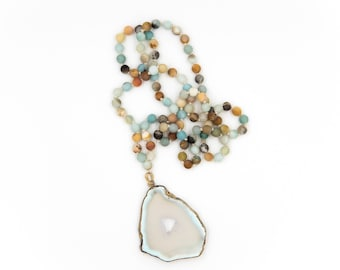 Amazonite Bead Handknotted Necklace with Agate Pendant