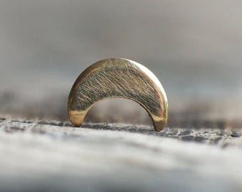 Solid 14k Yellow Gold Crescent Moon Nose Stud - You Choose the Gauge and Bend - Lunar Phase Jewelry