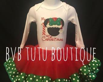Minnie Mouse 1st Christmas Tutu set