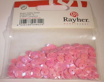 Glitter or Sequins domed pink rayher beads 6mm