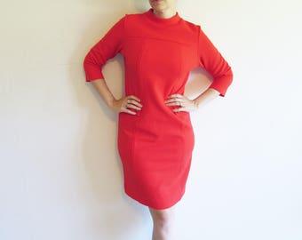 Vintage 60s 70s Red Texture Mod Shift Sheath Dress