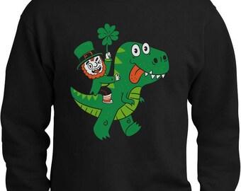 St Patricks Irish Leprechaun Riding T-Rex Sweatshirt