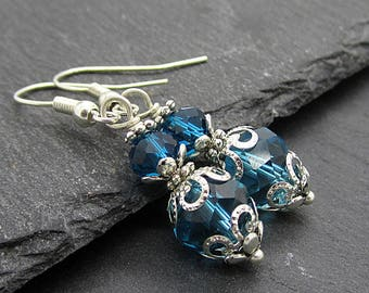 Teal Blue Bridesmaid Crystal Earrings Peacock Bridesmaid Jewellery Ocean Blue Bridal Sets Bridal Party Gifts Crystal Gift Set Blue Dangles