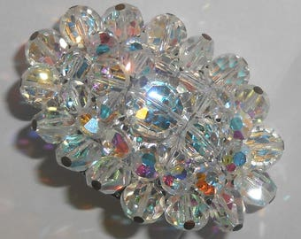 Vintage 1950s Silver Tone Aurora Borealis (AB) Crystal Cluster Brooch with Head Pins on Outer Crystals of the Oval Shape Brooch