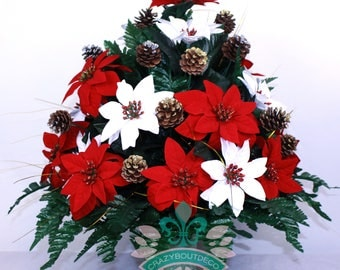 Beautiful XL Christmas Red and White Poinsettia Cemetery Vase Arrangement