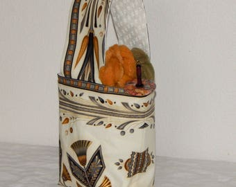 Fiber and yarn project bag, knitting, crochet, embroidery, Egyptian