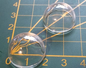 2 HALF GLOBES BUBBLE DOME GLASS CABOCHONS 20 MM