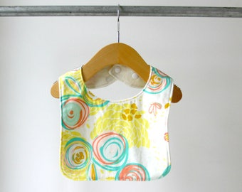 Baby/Toddler Bib, Sprayed Blooms Cotton with Organic Bamboo Terry