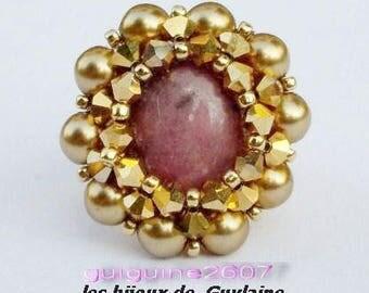 Pink agate ring, swarovski crystal