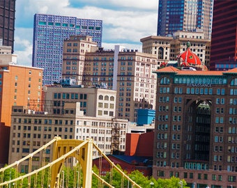 Downtown Pittsburgh Photo, color photograph, yellow, blue, red, tan, fine photography prints, 'Burgh Core