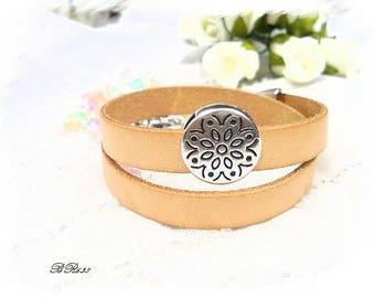 genuine leather bracelet camel nude mixed * BR638