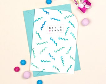 New Baby Card: Hello Baby // New Arrival // Baby Boy // It's A Boy
